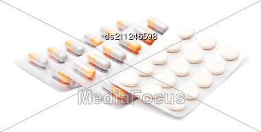 Blister Packs Of Pills Isolated Stock Photo