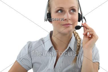 Blond Call-center Agent Stock Photo