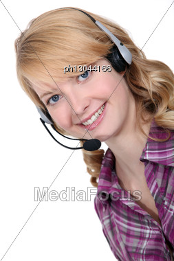 Blond Call-center Worker Stock Photo