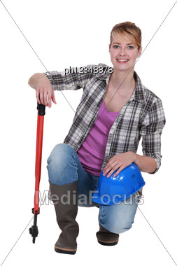 Blond Manual Worker With Cutters Stock Photo