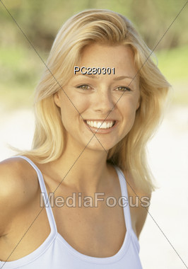 Blonde Woman with Beautiful Smile Stock Photo