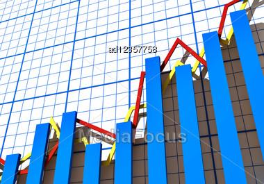 Blue 3d Chart Statistics Stock Photo