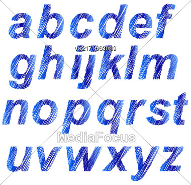 Blue Alphabet Isolated On White Background. Set Of Blue Letters. Scribble Alphabet Stock Photo