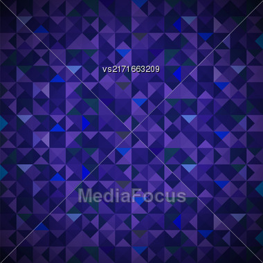 Blue Background With Geometric Shapes, Triangles. Old Mosaic. Blue-Mosaic-Banner. Geometric Hipster Blue Pattern With Place For Your Text. Graphic Template Background Stock Photo