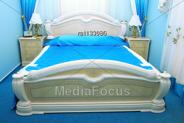 Blue Bedroom With Luxurious Objects. Stock Photo