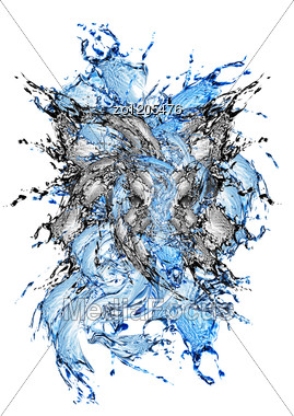 Blue And Black Water And Water Splash Stock Photo