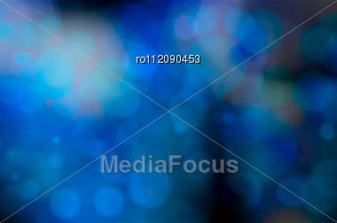 Blue Bokeh Blur Lights Defocused Background For Design Stock Photo