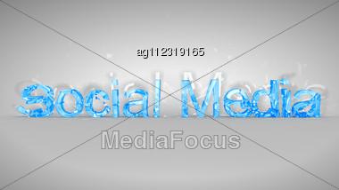Blue Broken Social Media Words Over Grey Background Stock Photo