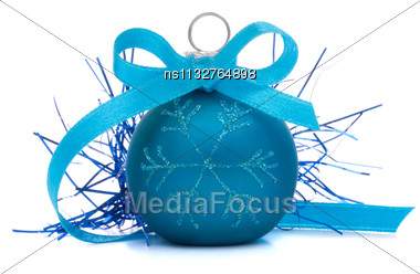 Blue Christmas Ball Isolated On White Background Cutout Stock Photo