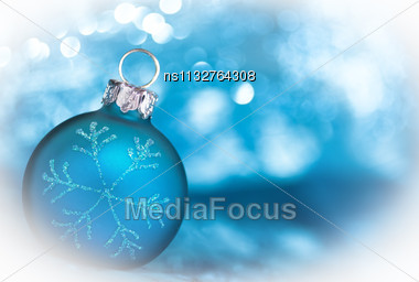 Blue Christmas Card With Copy Space Stock Photo
