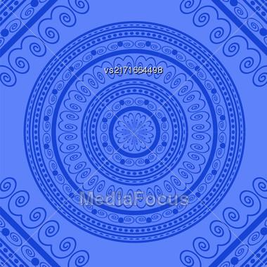 Blue Circle Lace Ornament, Round Ornamental Geometric Doily Pattern, Christmas Snowflake Decoration Stock Photo