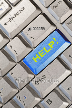 Blue Computer Keyboard Button With Help Word Stock Photo