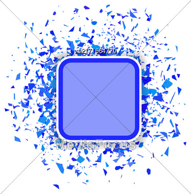 Blue Confetti Banner Isolated On White Background. Set Of Particles Stock Photo