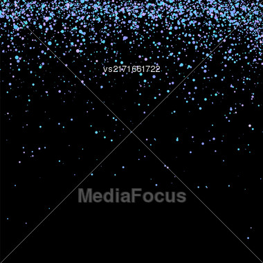 Blue Confetti Isolated On Black Background. Abstract Blue Parts Stock Photo