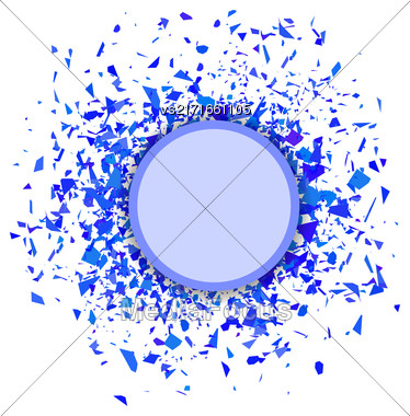 Blue Confetti Round Banner Isolated On White Background. Set Of Particles Stock Photo