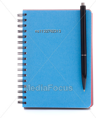 Blue Cover Notebook With Pen Isolated On White Background Cutout Stock Photo