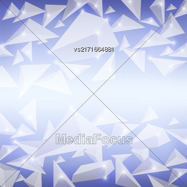 Blue Crystal Pattern. Explosion Of Particles. Abstract Parts Background Stock Photo