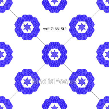 Blue David Star Seamless Background. Jewish Symbol Of Religion Stock Photo
