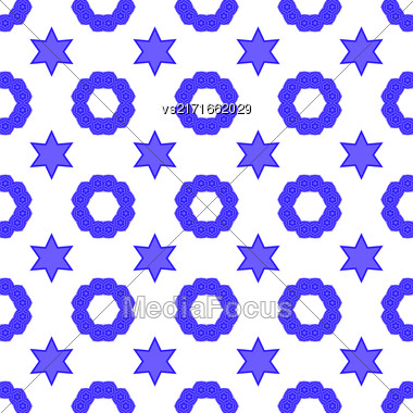 Blue David Star Seamless Background. Jewish Symbol Of Religion Stock Photo
