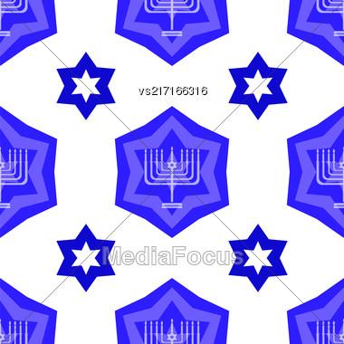 Blue David Star Seamless Background. Menorah Jewish Symbol Of Religion Stock Photo