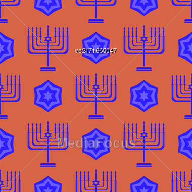 Blue David Star Seamless Background. Menorah Jewish Symbol Of Religion Stock Photo