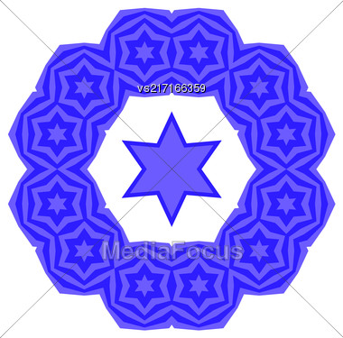 Blue David Star Isolated On White Background. Jewish Symbol Of Religion Stock Photo