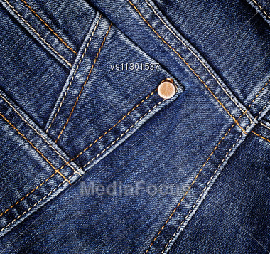 Blue Denim Jeans Texture. Background. Close Up Stock Photo