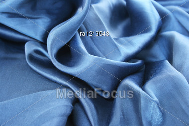 Blue Fabric As A Background. Stock Photo