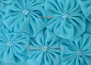 Blue Fabric Flowers , Close Up For Background Stock Photo