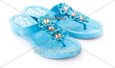 Blue Flip Flops Isolated On White Background Stock Photo