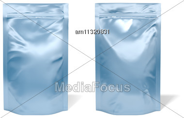 Blue Foil Bag Package Isolated On White Background Stock Photo