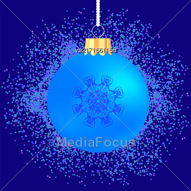 Blue Glass Ball On Blue Confetti Background. Blue Glass Ball On Blue Background Stock Photo