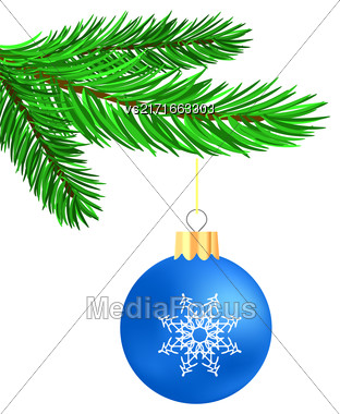 Blue Glass Ball On Green Fir Branch. Christmas Symbol. Green Branch On White Background Stock Photo