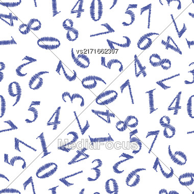 Blue Grunge Numbers Seamless Pattern On White Background Stock Photo
