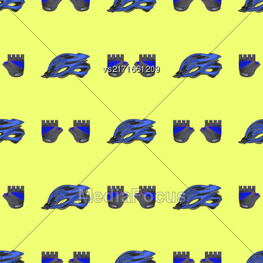 Blue Helmet And Gloves Seamless Pattern Isolated On Yellow Background Stock Photo