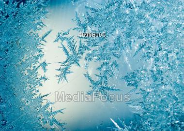 Blue Ice Flowers Stock Photo