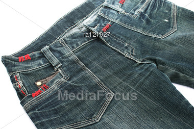 Blue Jeans On White Background. Stock Photo