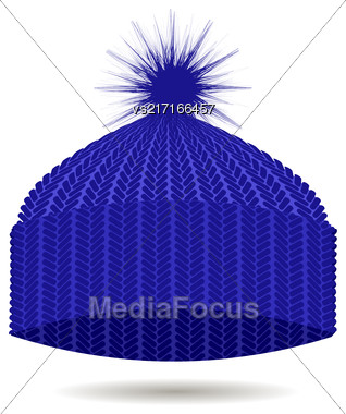 Blue Knitted Cap Isolated On White Background. Winter Hat Stock Photo