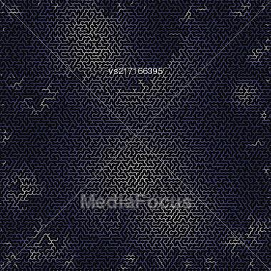 Blue Labyrinth On Black Background. Kids Maze Stock Photo