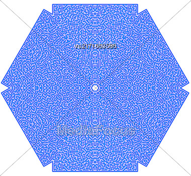 Blue Labyrinth Isolated On White Background. Kids Maze Stock Photo