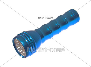 Blue Metal LED Flashlight Stock Photo
