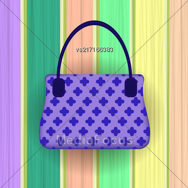 Blue Modern Womens Handbag On Colorful Planks Background Stock Photo