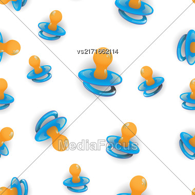 Blue Nipple Seamless Pattern Isolated On White Background Stock Photo