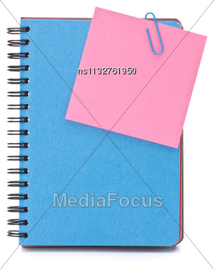 Blue Notebook With Notice Papers Isolated On White Background Cutout Stock Photo