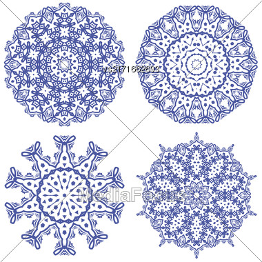 Blue Ornamental Line Pattern. Endless Texture. Oriental Geometric Ornament Stock Photo