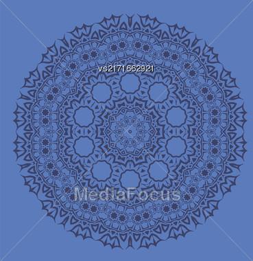 Blue Ornamental Line Pattern. Endless Texture. Oriental Geometric Ornament Stock Photo