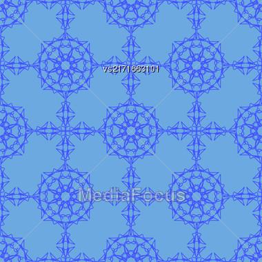 Blue Ornamental Seamless Line Pattern. Endless Texture. Oriental Geometric Ornament Stock Photo