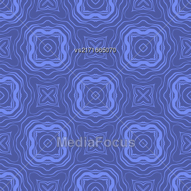 Blue Ornamental Seamless Line Pattern. Endless Texture. Oriental Geometric Ornament Stock Photo