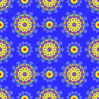 Blue Ornamental Seamless Pattern. Endless Texture. Oriental Geometric Ornament Stock Photo