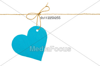 Blue Paper Heart On A Rope With A Bow Stock Photo